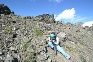 Sarah Schooler (above) and Mary Navarro (below) working on their natural history journals, high on Grey Wolf Ridge.