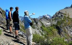 Learning about the glacial history of the trailless East Fork of the Cameron Valley.