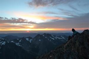 Skinner takes in sunset on Panic Peak.