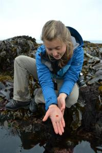 Allie with a small nudibranch. Good find!